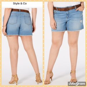 ✨ STYLE & CO, PLUS SIZE DISTRESSED BELTED SHORTS ✨